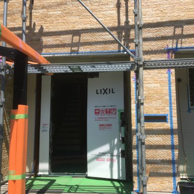 防水工事:外壁貼り工事完了