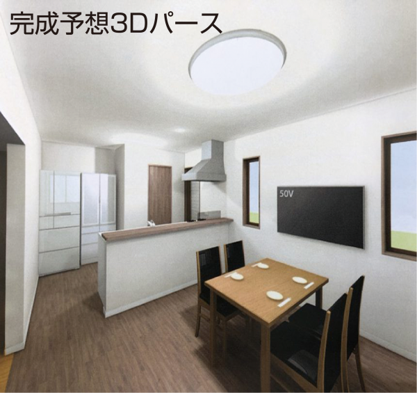 栃木県宇都宮市_リフォームリノベーション_キッチンを中心としたスペースの広々LDKリノベーション02_3Dパース